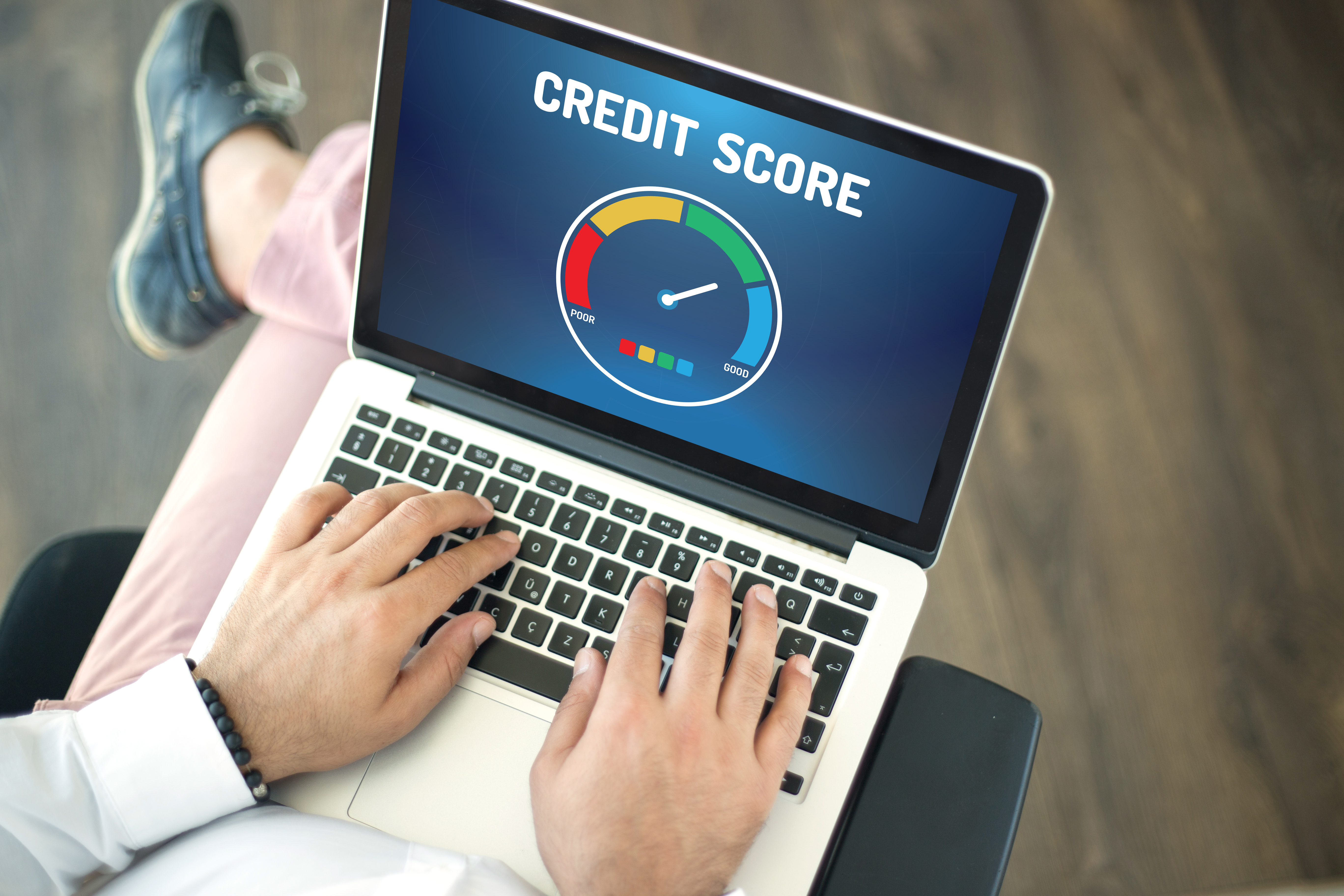 Computer laptop that says Credit Score on the screen